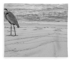 Great Blue Heron Black And White  Fleece Blanket