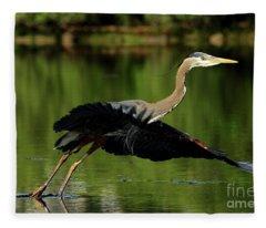 Great Blue Heron - Over Green Waters Fleece Blanket