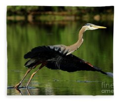 Great Blue Heron - Over Green Waters Fleece Blanket