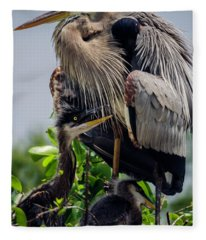 Great Blue Heron With Babies Fleece Blanket