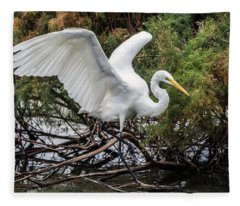 Great Egret 0292-120517-1cr Fleece Blanket