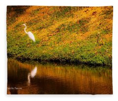 Great Egret At The Lake Fleece Blanket