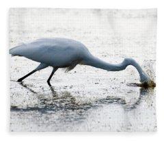 Great Egret Faceplant Fleece Blanket