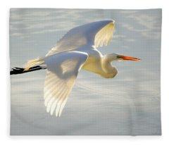 Great Egret Glow Fleece Blanket