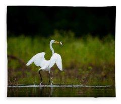 Great Egret, Great Fisherman Fleece Blanket