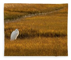 Great Egret In Morning Light Fleece Blanket