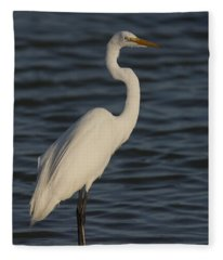 Great Egret In The Last Light Of The Day Fleece Blanket