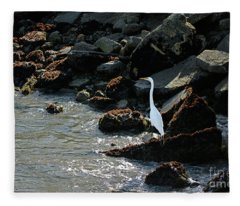 Great Egret On Sunny Seaside Rocks Fleece Blanket