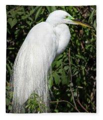 Great Egret Portrait One Fleece Blanket