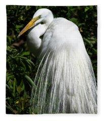 Great Egret Portrait Two Fleece Blanket