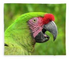 Great Green Macaw Portrait Fleece Blanket