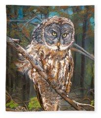 Great Grey Owl 2 Fleece Blanket