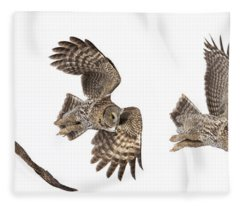 Great Grey Owl Hunting Fleece Blanket