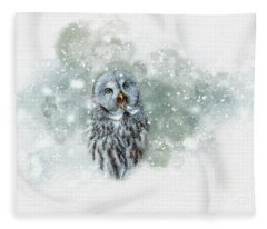 Great Grey Owl In Snowstorm Fleece Blanket