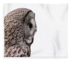 Great Grey's Profile On White Fleece Blanket