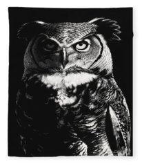 Great Horned Dragon Owl Fleece Blanket