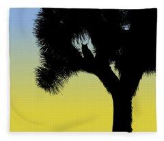 Great Horned Owl In A Joshua Tree Silhouette At Sunrise Fleece Blanket