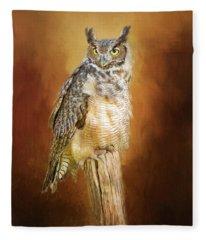 Great Horned Owl In Autumn Fleece Blanket