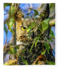 Great Horned Owl Peeking At It's Prey Fleece Blanket