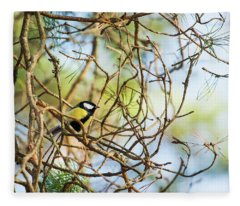 Great Tit Male Waiting For The Spring To Come Fleece Blanket