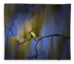 Great Tit On Branch #h3 Fleece Blanket