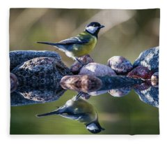 Great Tit On The Stone Fleece Blanket