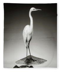 Great White Egret On Hippo Fleece Blanket