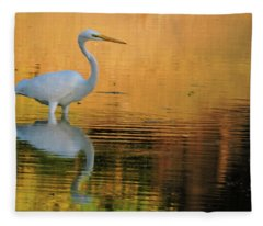 Great White On Gold Fleece Blanket