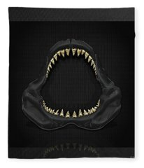 Great White Shark Jaws With Gold Teeth  Fleece Blanket