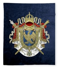 Greater Coat Of Arms Of The First French Empire Over Blue Velvet Fleece Blanket