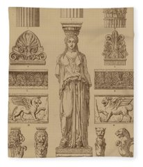 Greek, Ornamental Architecture And Sculpture Fleece Blanket