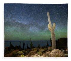Green Airglow And Cactus Incahuasi Island Bolivia Fleece Blanket