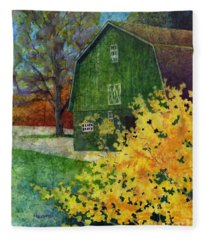 Green Barn Fleece Blanket