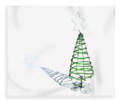 Green Bead Christmas Tree II Fleece Blanket