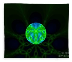 Green Blue World Fractal  Fleece Blanket