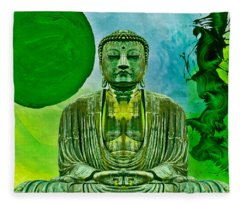 Green Buddha Fleece Blanket
