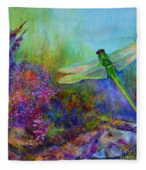 Green Dragonfly Fleece Blanket