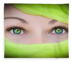 Green-eyed Girl Fleece Blanket