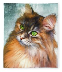 Green-eyed Maine Coon Cat - Remastered Fleece Blanket