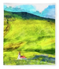 Green Iceland Aquarell Painting Vik Church And Green Hills Fleece Blanket
