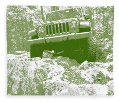 Green Jeep Jk Rock Ledge Fleece Blanket