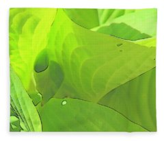 Green Leaves Sketch 2 Fleece Blanket