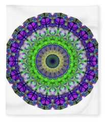 Green Light Mandala Art By Sharon Cummings Fleece Blanket