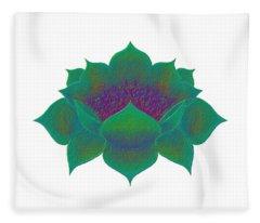 Green Lotus Fleece Blanket