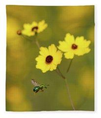 Green Metallic Bee Fleece Blanket