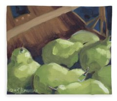 Green Pears Fleece Blanket
