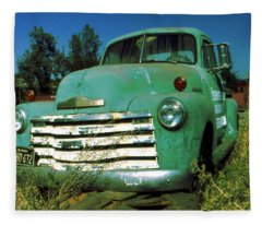Green Pickup Truck 1959 Fleece Blanket