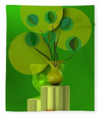 Green Still Life With Abstract Flowers, Fleece Blanket