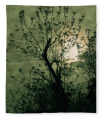 Green Sunset Fleece Blanket