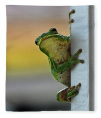 Green Tree Frog  It's Not Easy Being Green Fleece Blanket